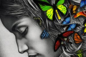 Butterflies-in-girl-hair-awesome-painting-wallpapers