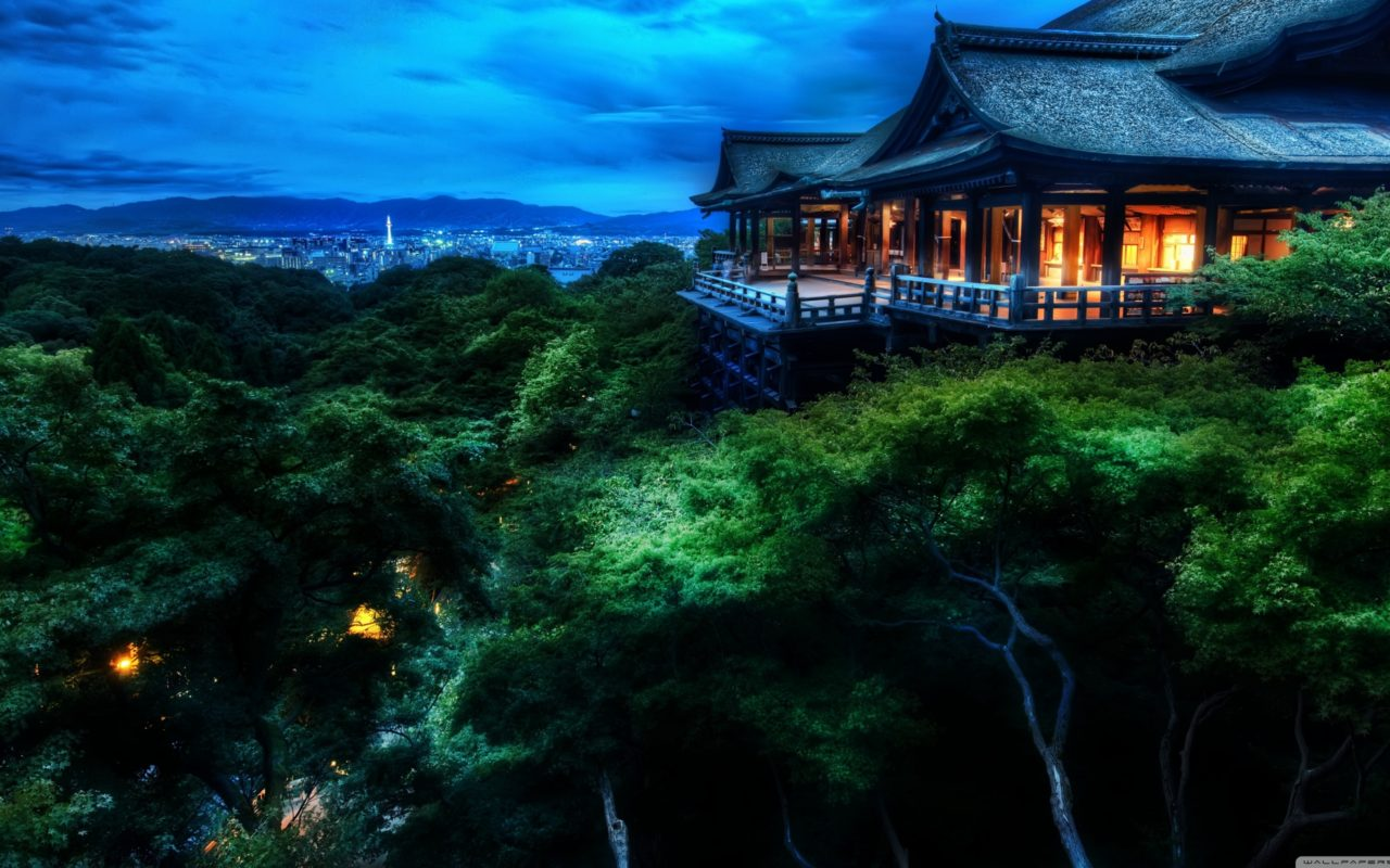 kyoto, japan at night hd desktop wallpaper | hd wallpapers