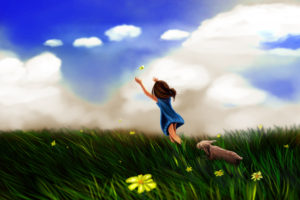 Girl Butterfly Play Wallpapers