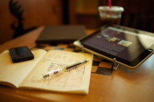 Ipad Iphone Pens Notepads Coffee Starbucks