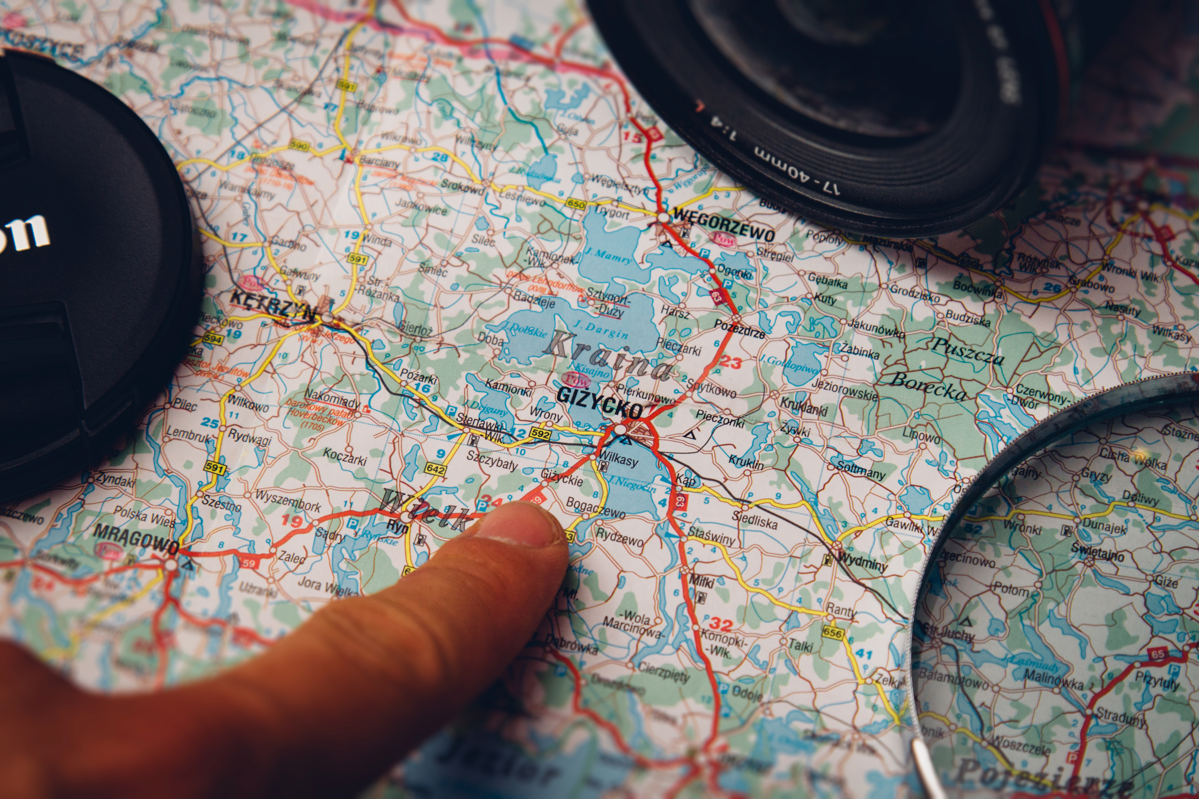 Map, Finger, Route, Travel