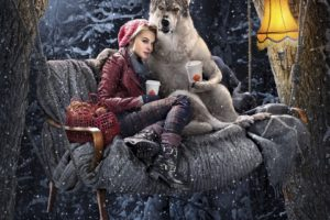 Red riding hood Dog Girl Wolf Forest Winter Composition