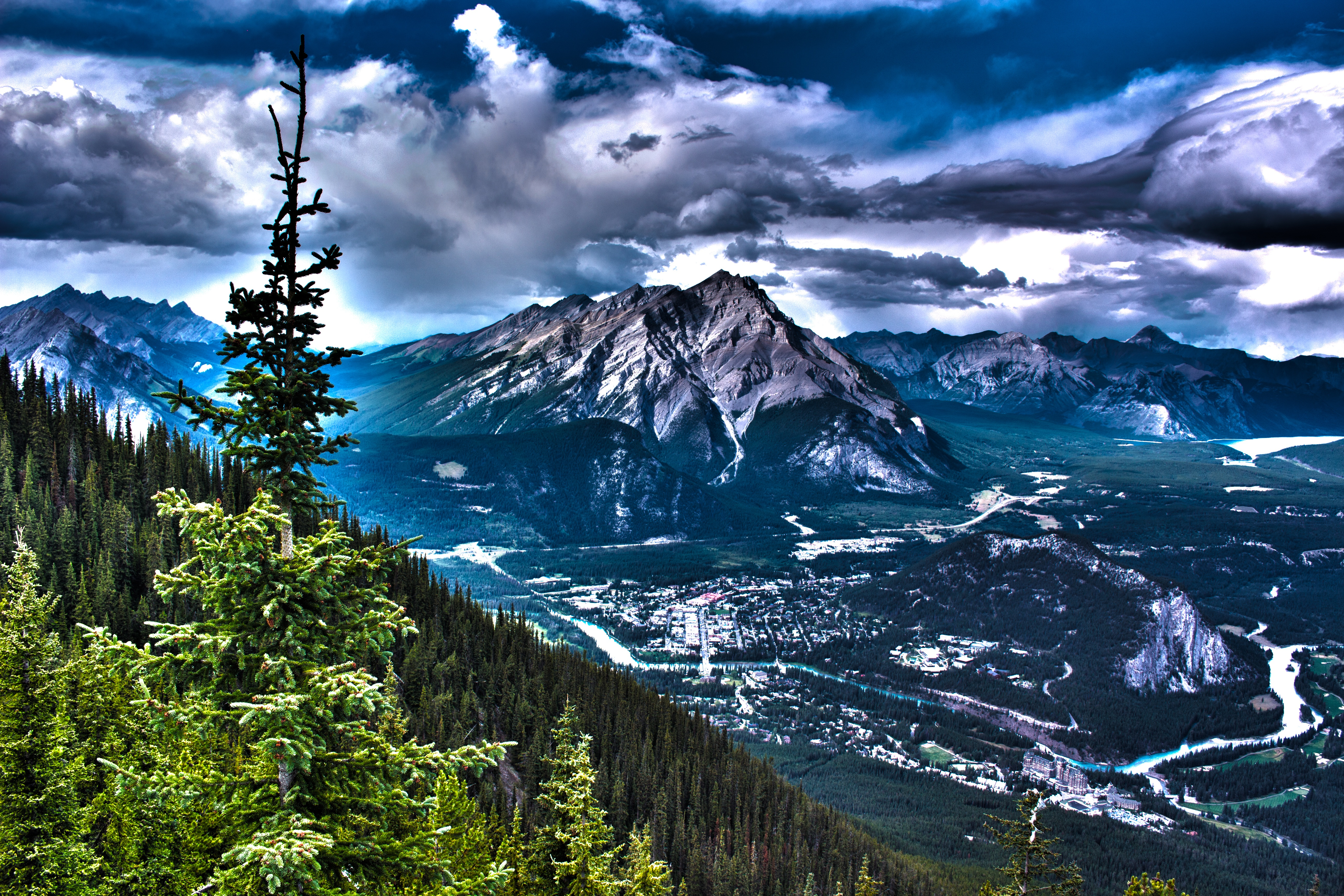 Canada Mountains Rocks Hdr