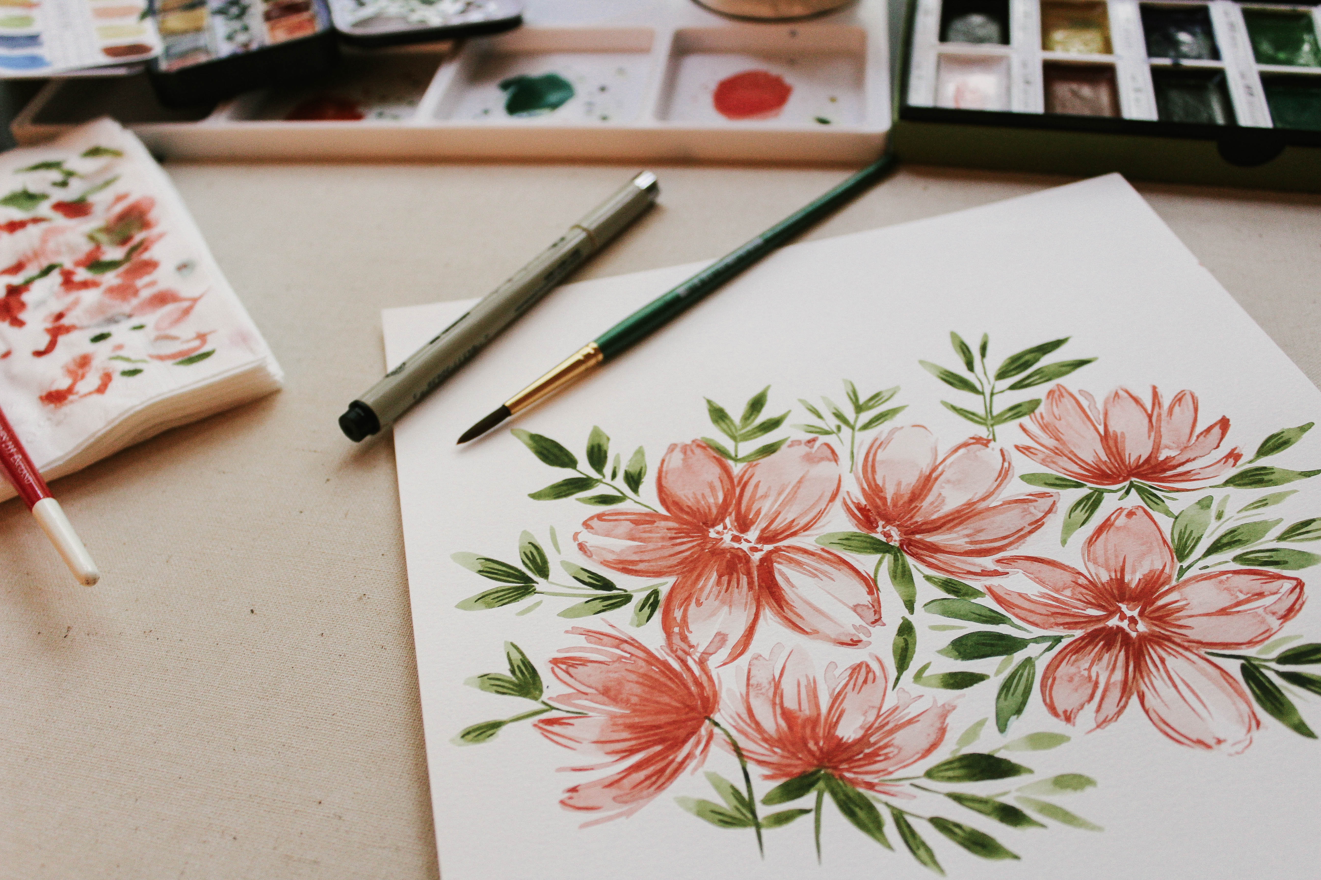Drawing Flowers Paints Brushes