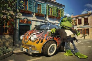 Frog Car Cool Street Stylish Animation