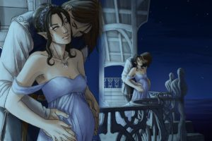 girl_guy_stomach_mum_love_balcony_kiss_3456_1280x1024