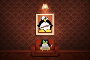 Linux Penguin Picture Sofa Red Eye