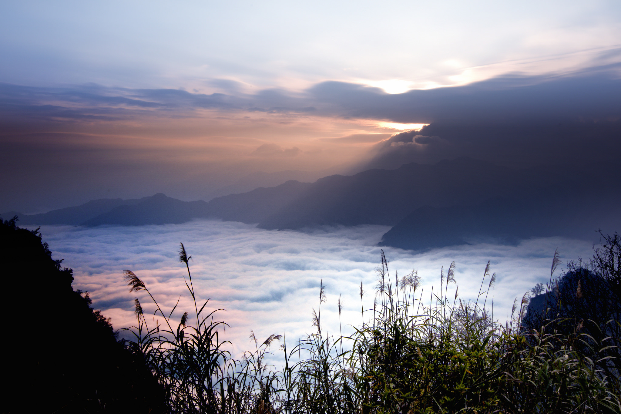 Taiwan Sky Mountains Clouds Grass Fog