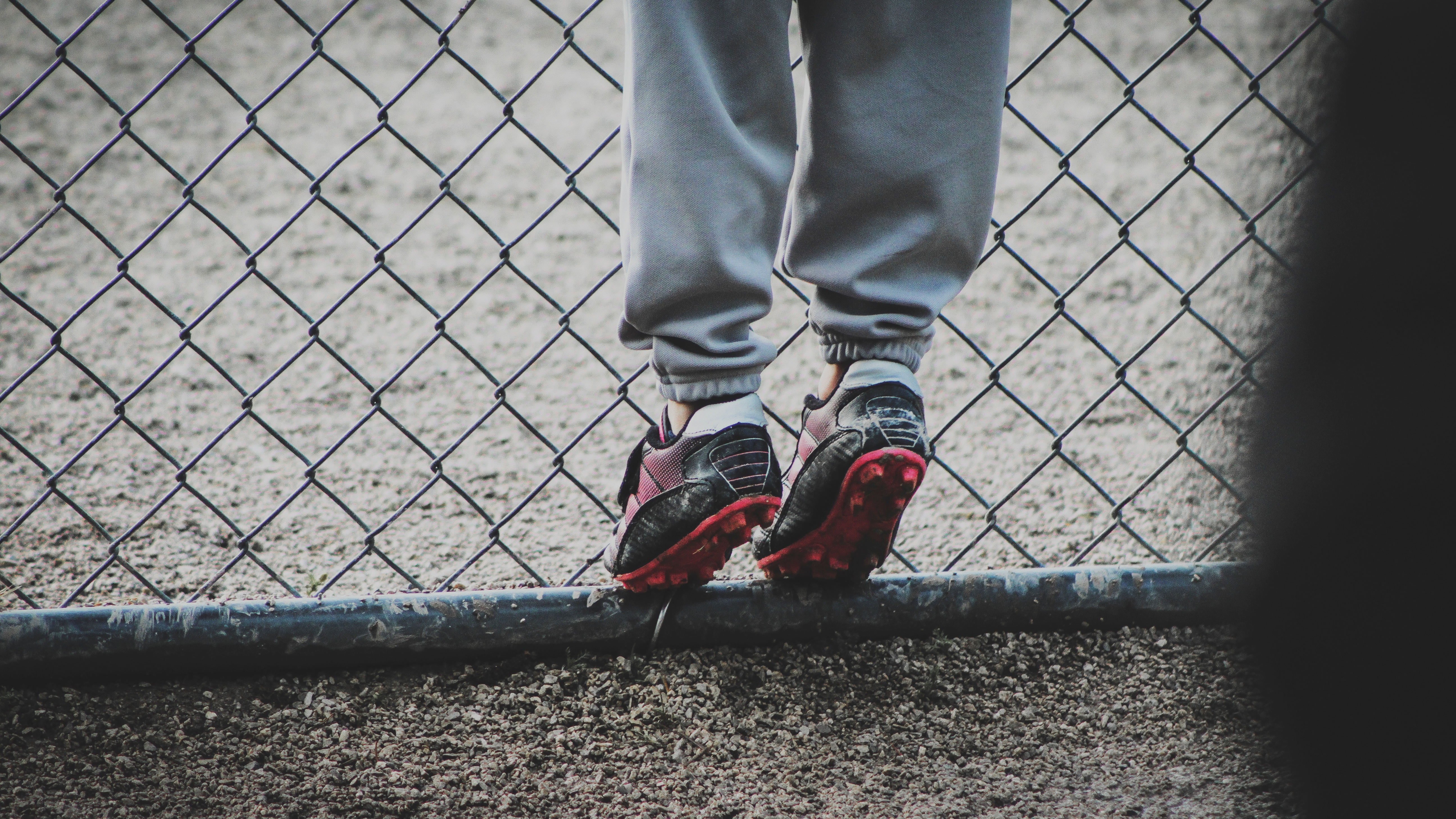 Boots Feet Child Football Fence Grid