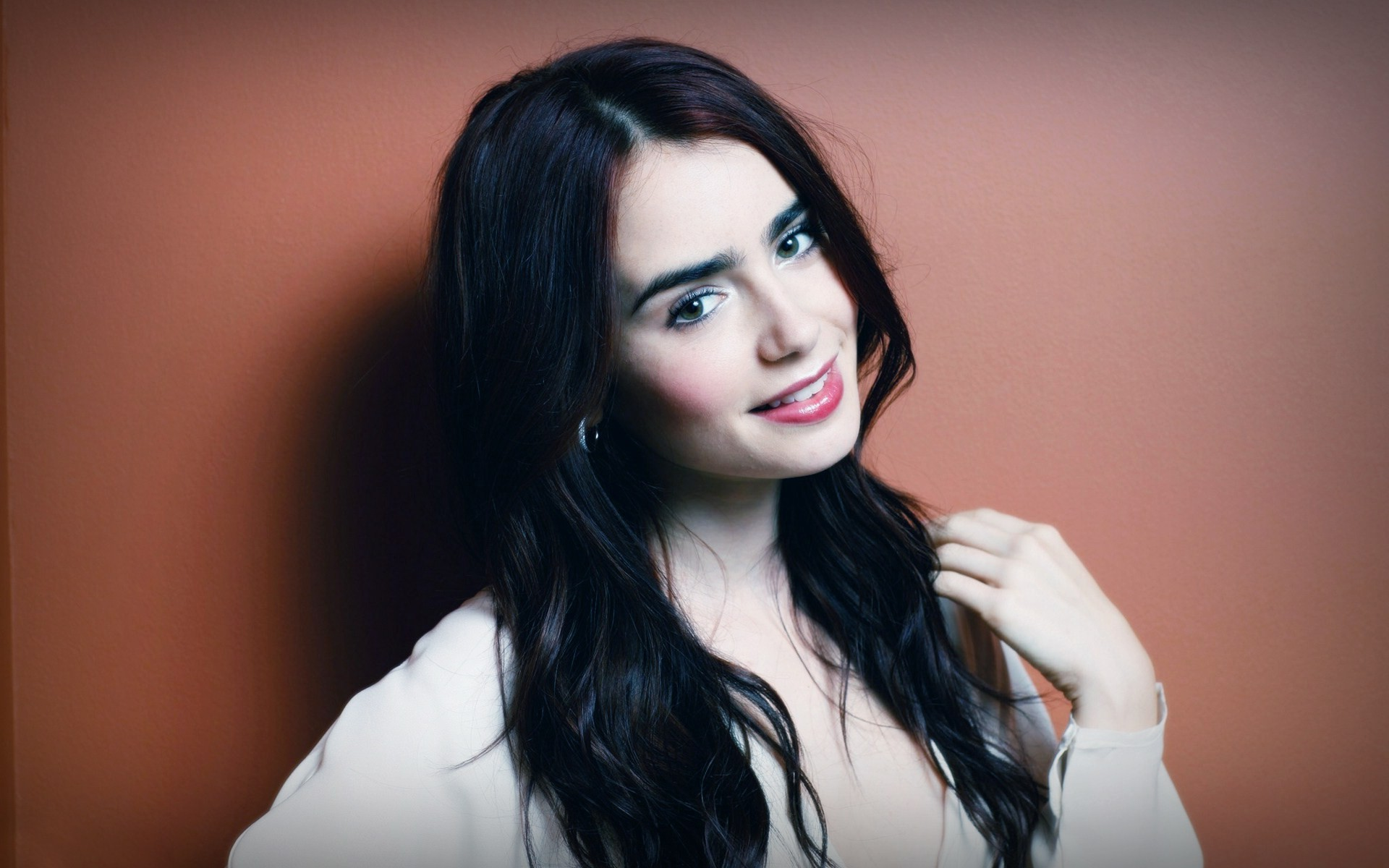 lily collins, actress, brunette, face, smile wallpaper | hd wallpapers