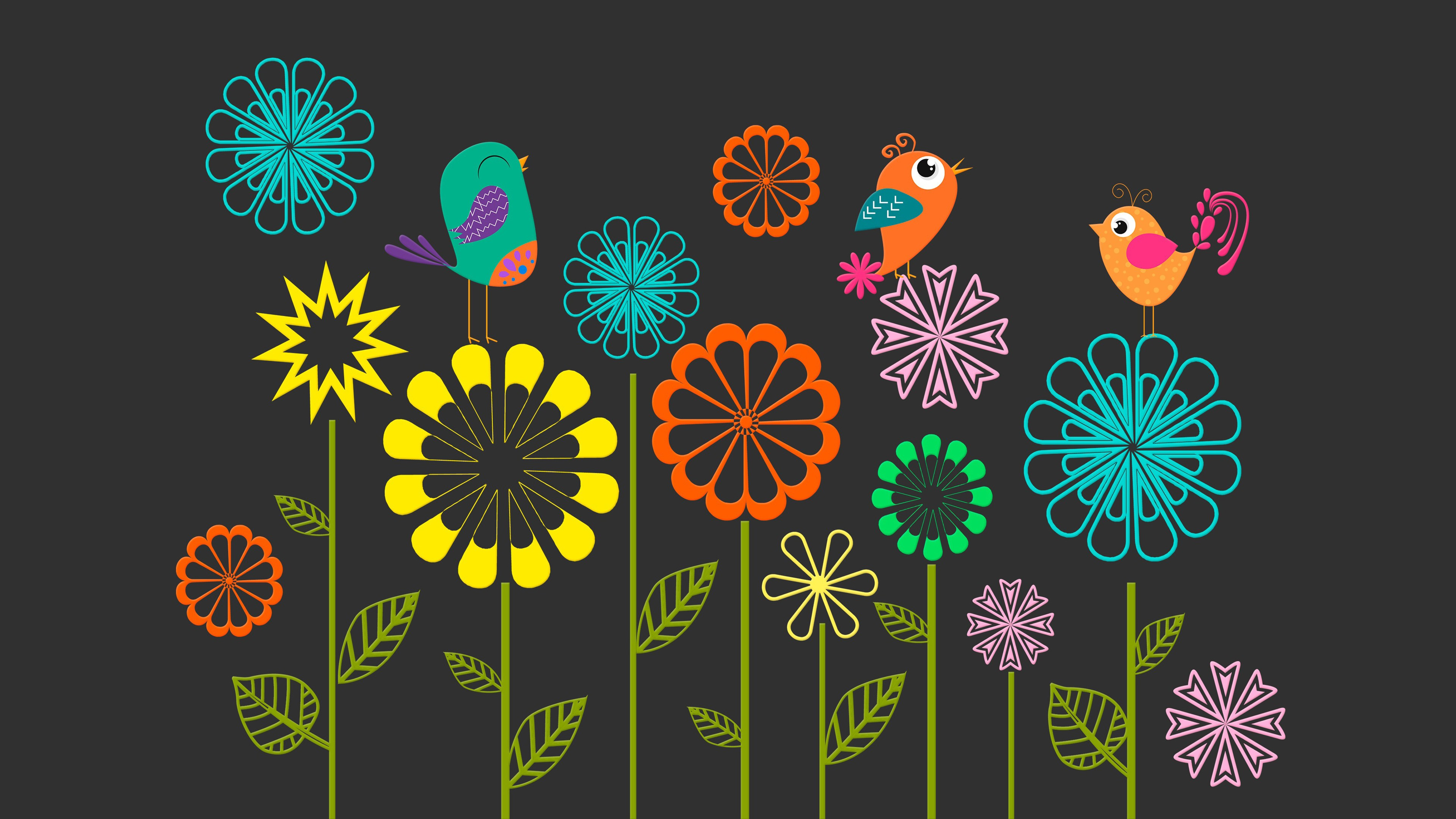 Colorful Vector Flowers Birds Wallpapers