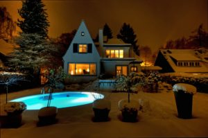Houses Pools Night Snow