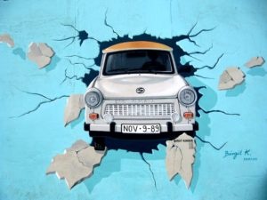 White Car Crash in Blue Wall Signature Painting