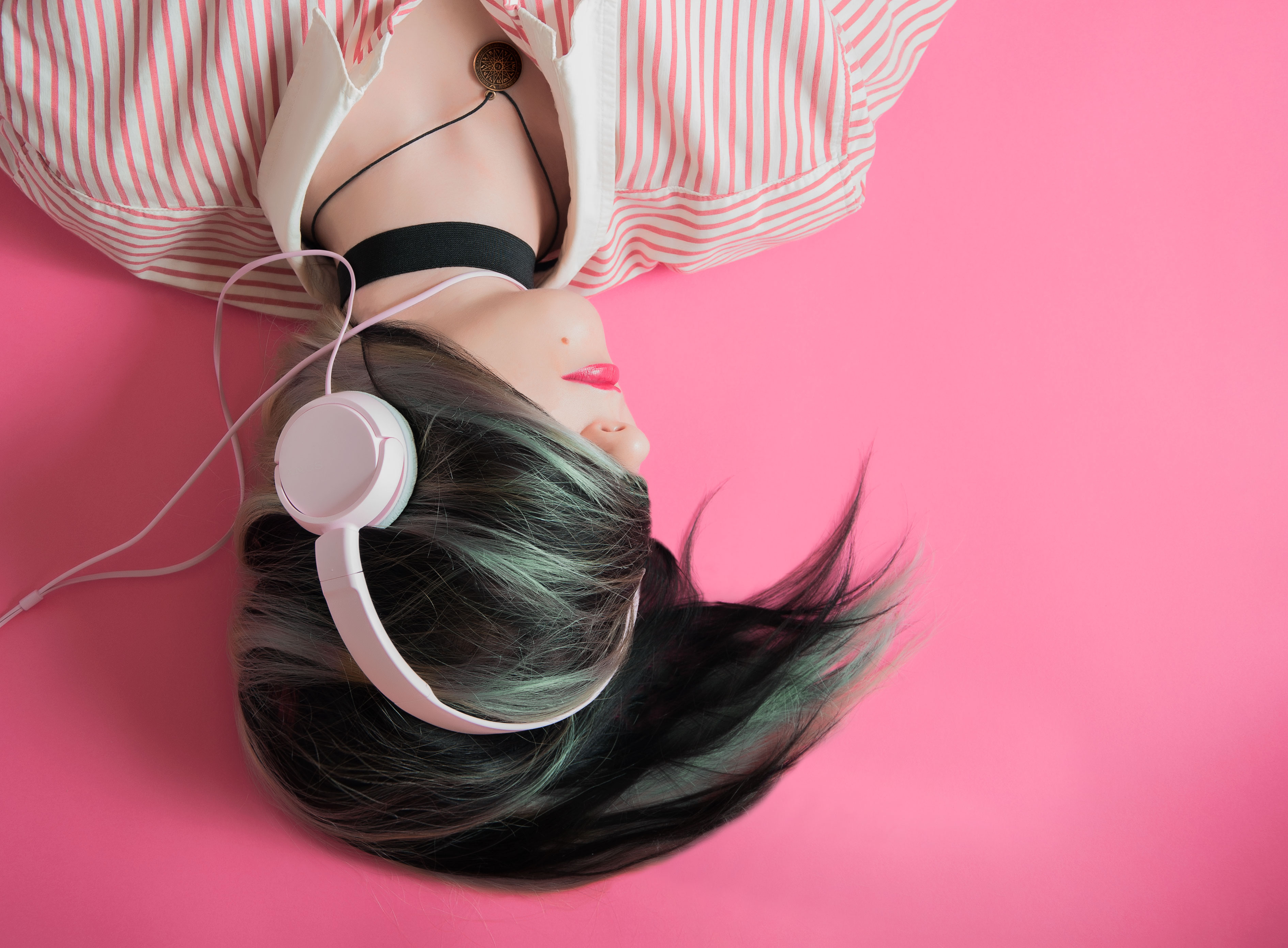 Headphones Girl Woman 4K Music