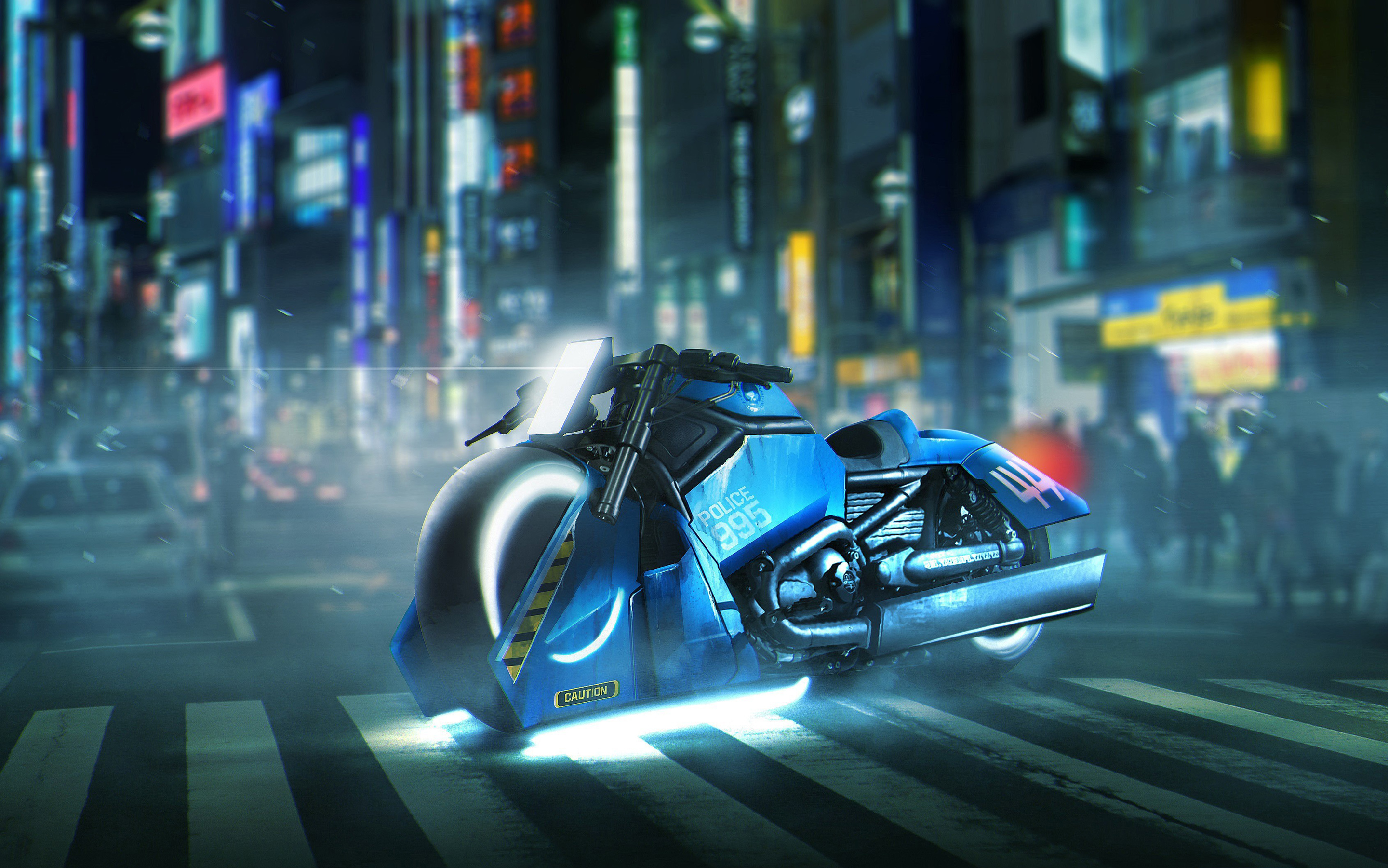 Blade Runner Police 995 Spinner Harley Davidson V Rod Muscle 4K Wallpapers
