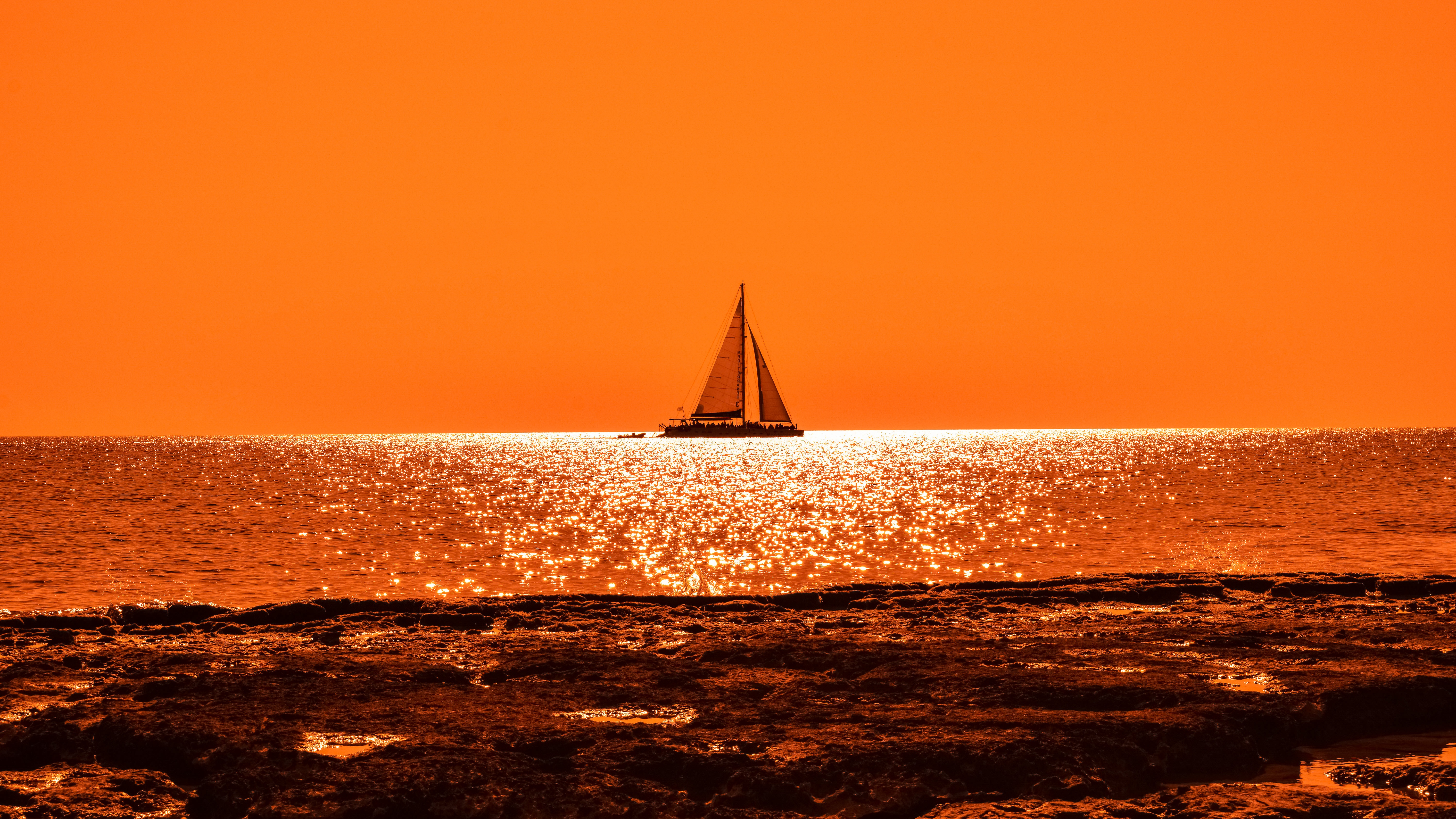 Sunset Boat Sail 4K Wallpapers