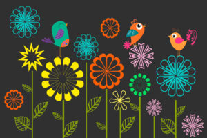 Colorful Vector Flowers Birds
