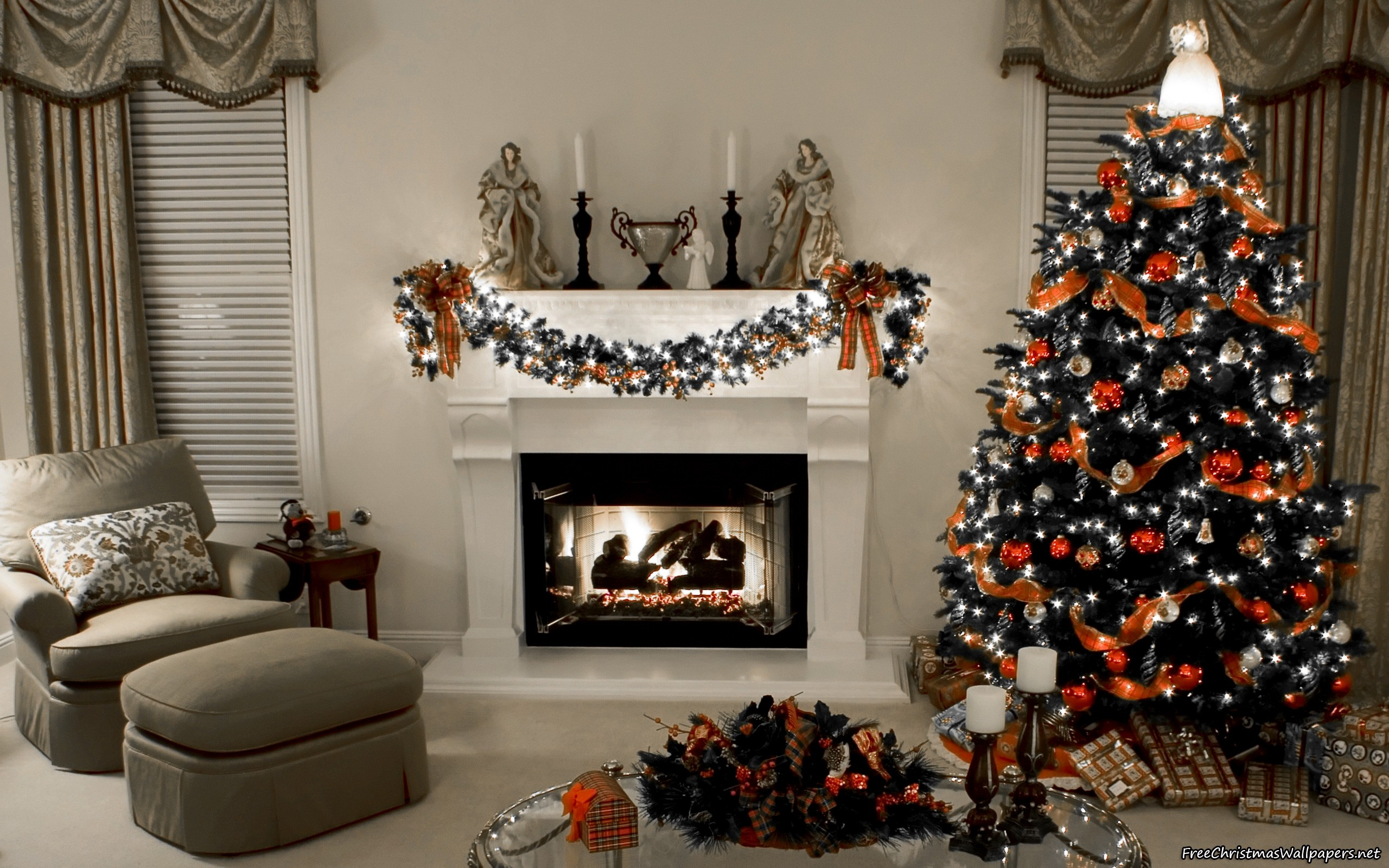 Decorated Christmas Fireplace And Tree Hd Wallpapers Hd Wallpapers