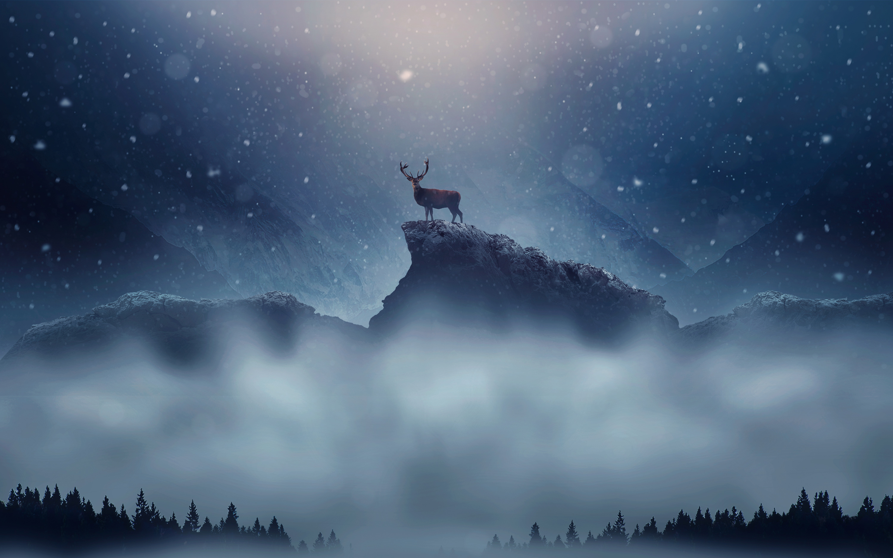 Christmas Deer Snowfall Wallpapers