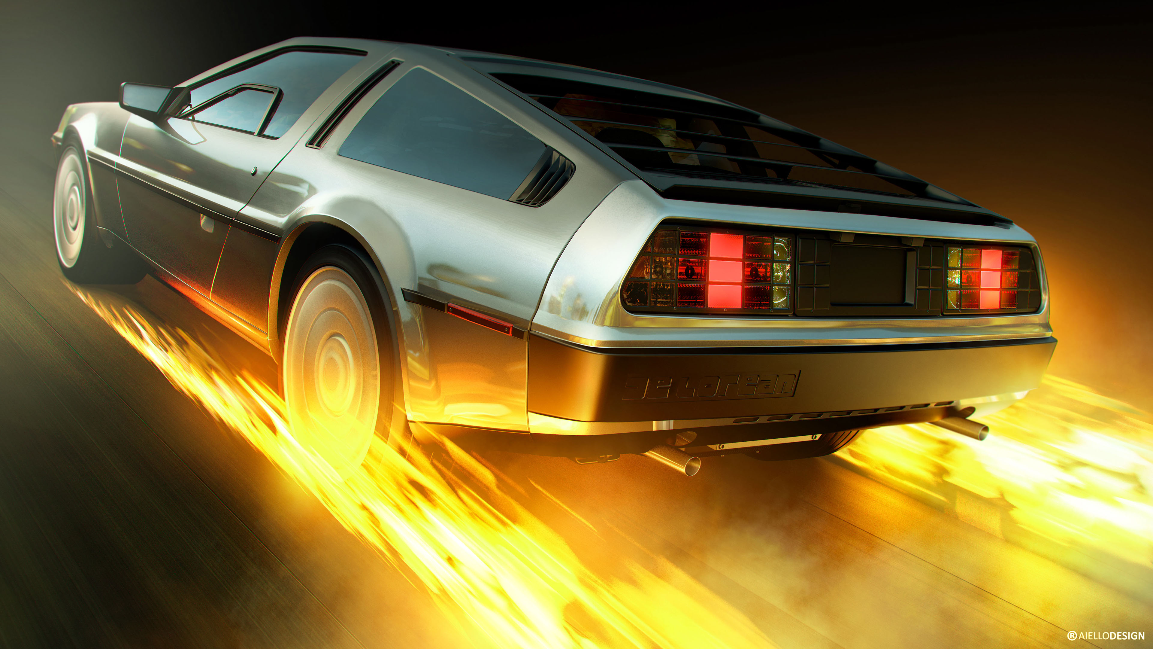 DeLorean time machine Artwork 4K Wallpapers