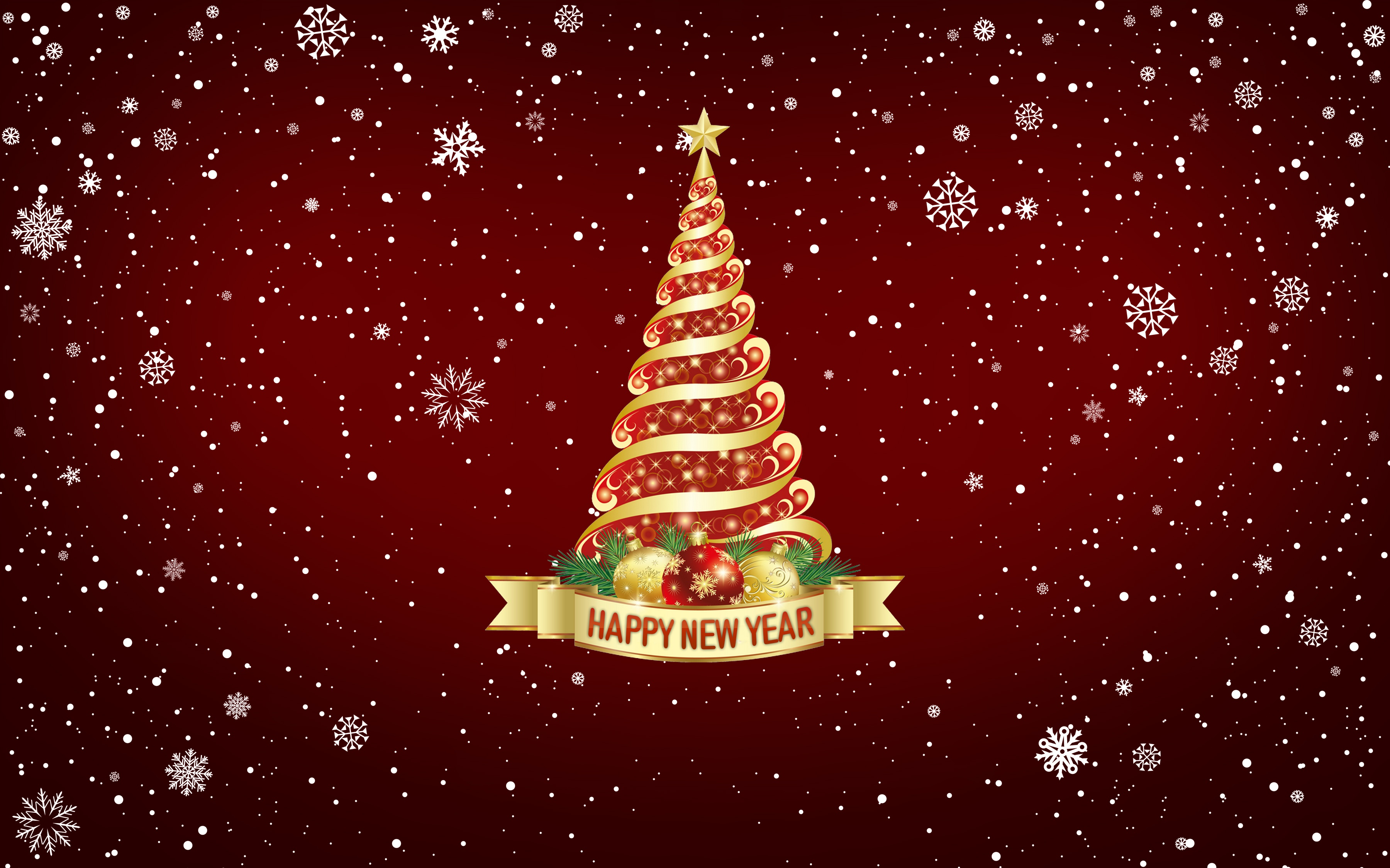 Happy New Year Christmas Tree 4K Wallpapers
