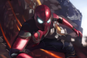 Spider man in Avengers Infinity War Artwork