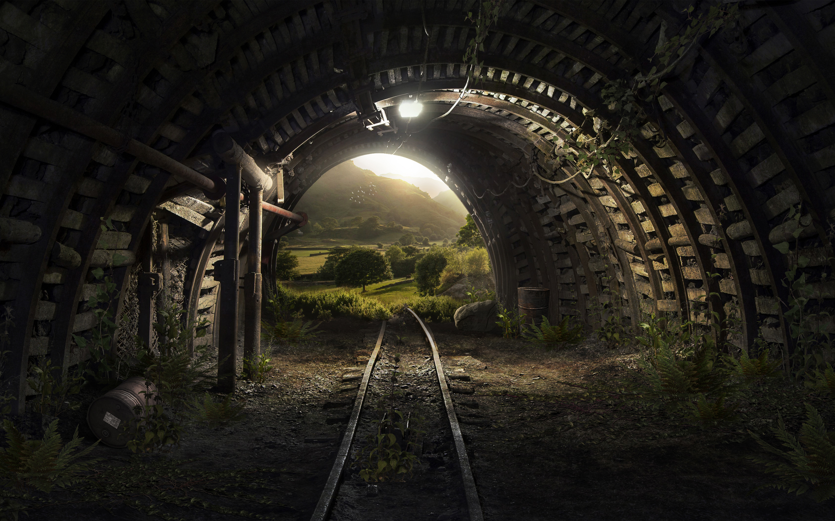 Tunnel Tracks 4K Wallpapers