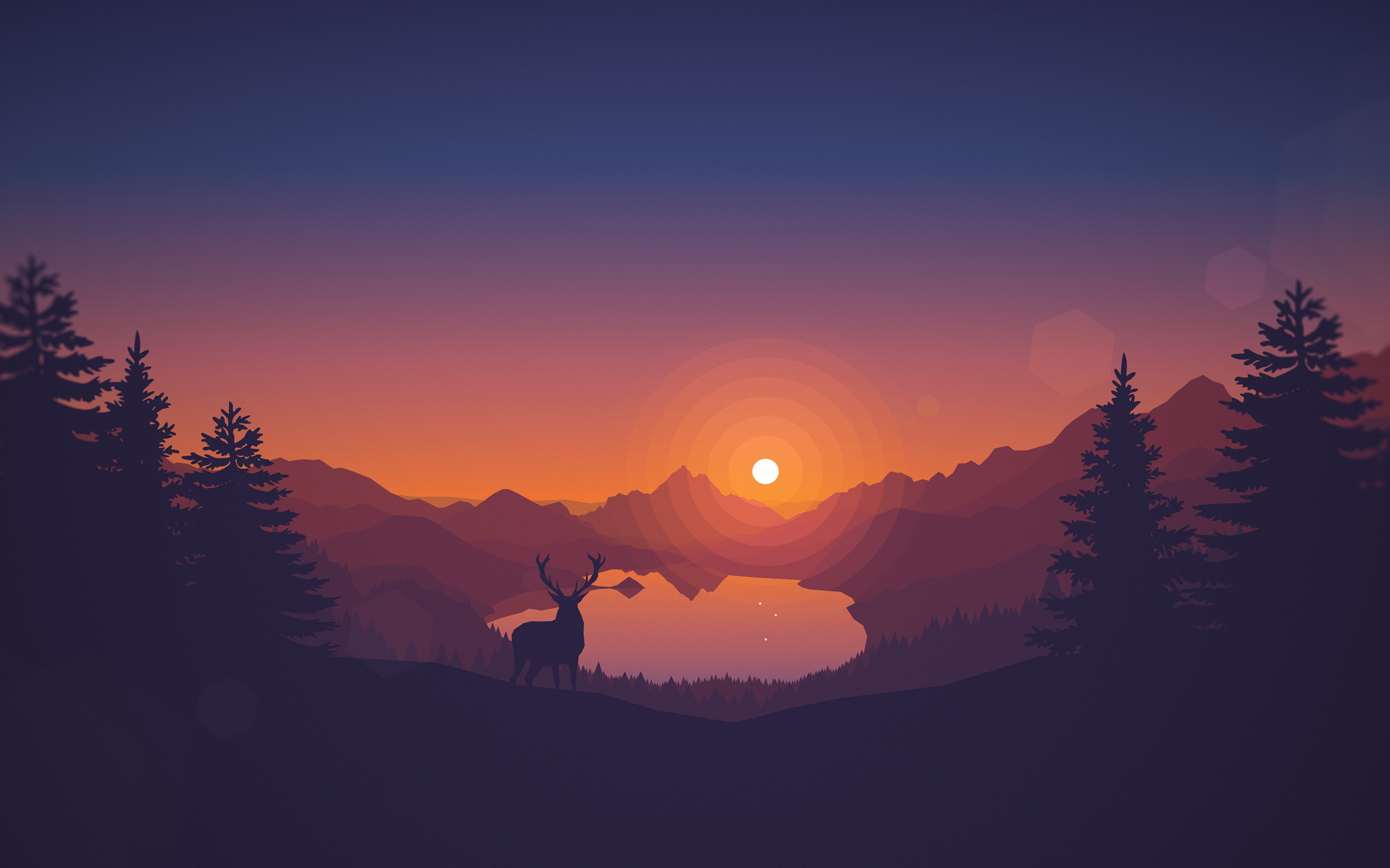 Lakeview Sunset 4K Wallpapers
