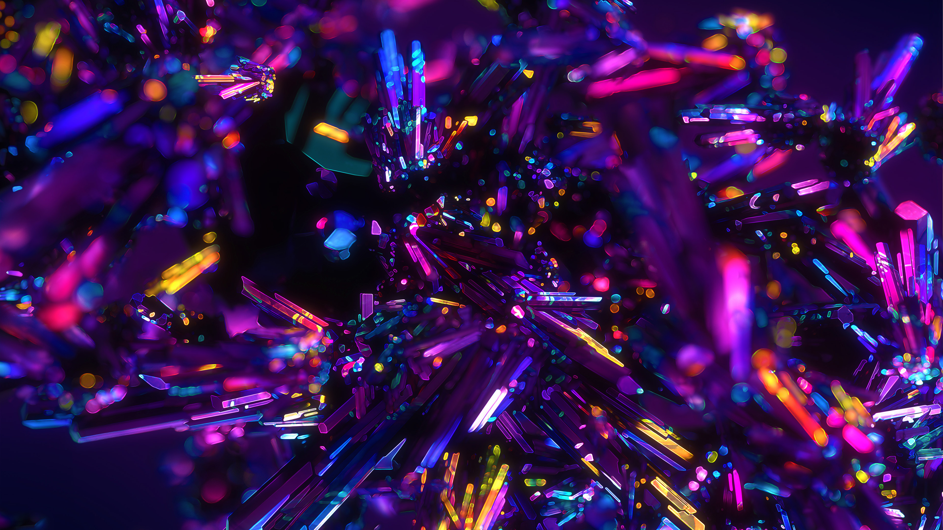 Colorful Crystals Abstract 4K Wallpapers