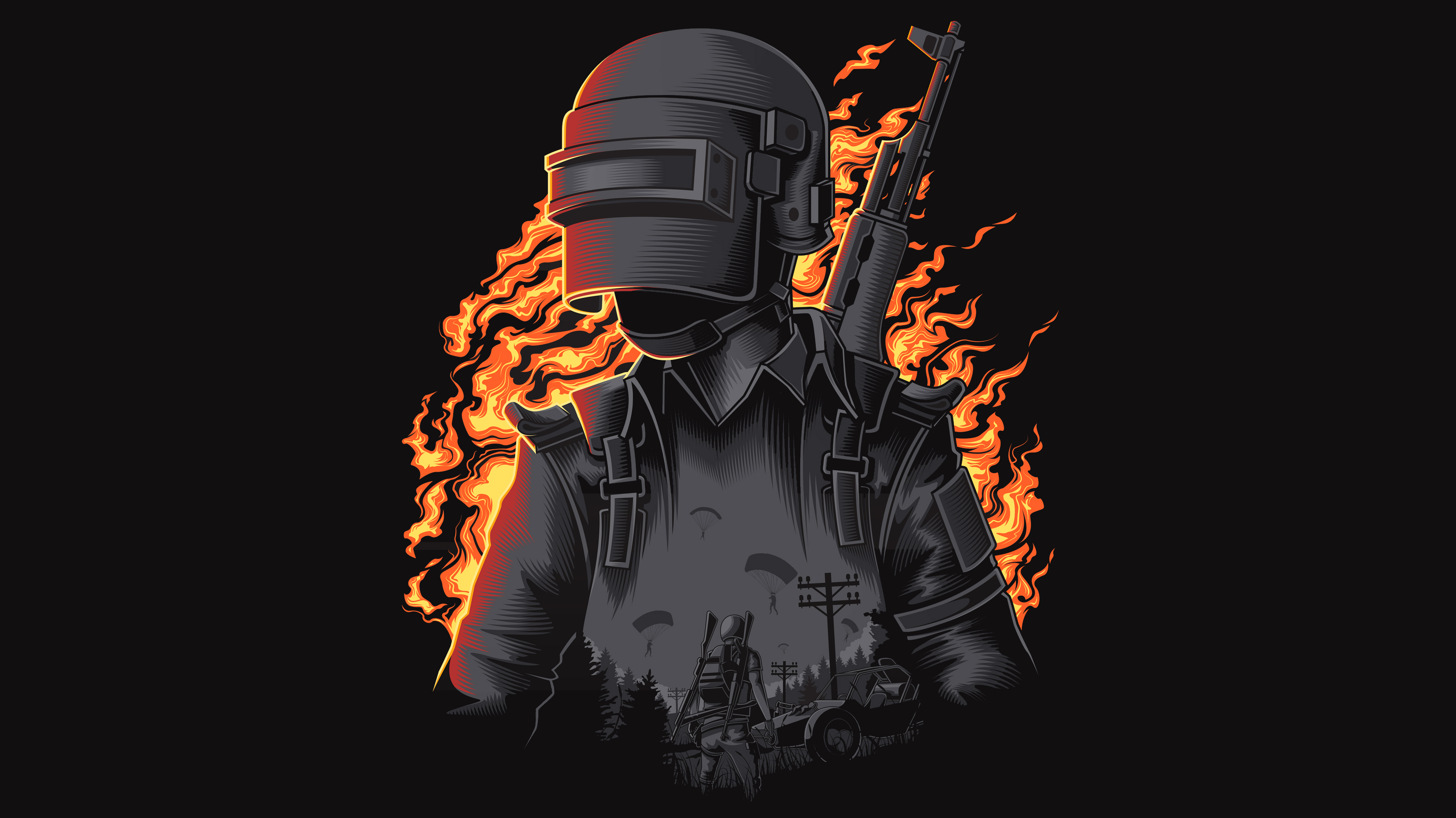 Pubg Black Wallpapers: PUBG Dark Illustration Wallpapers