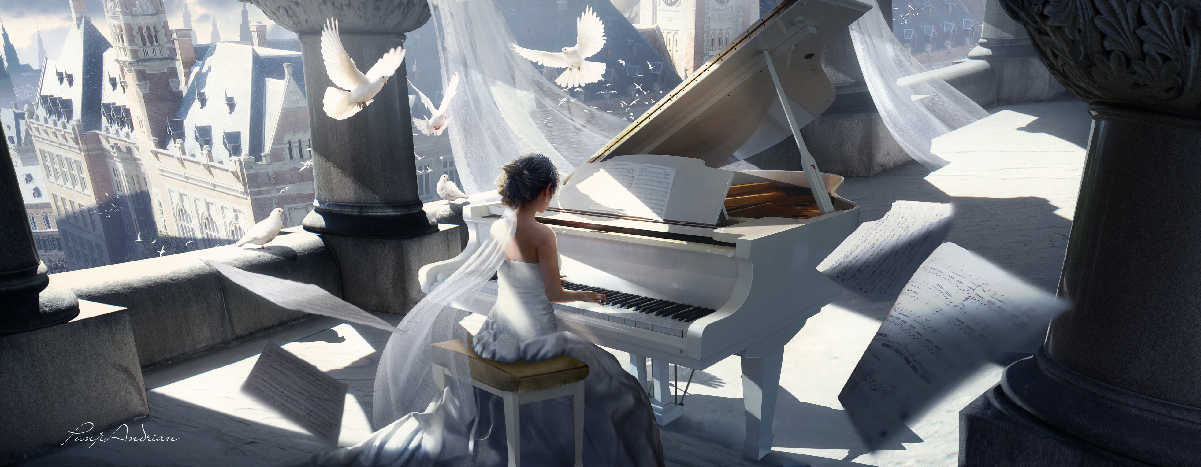 Girl Playing Piano Painting 4k Hd Artist 4k Wallpapers Hd Wallpapers