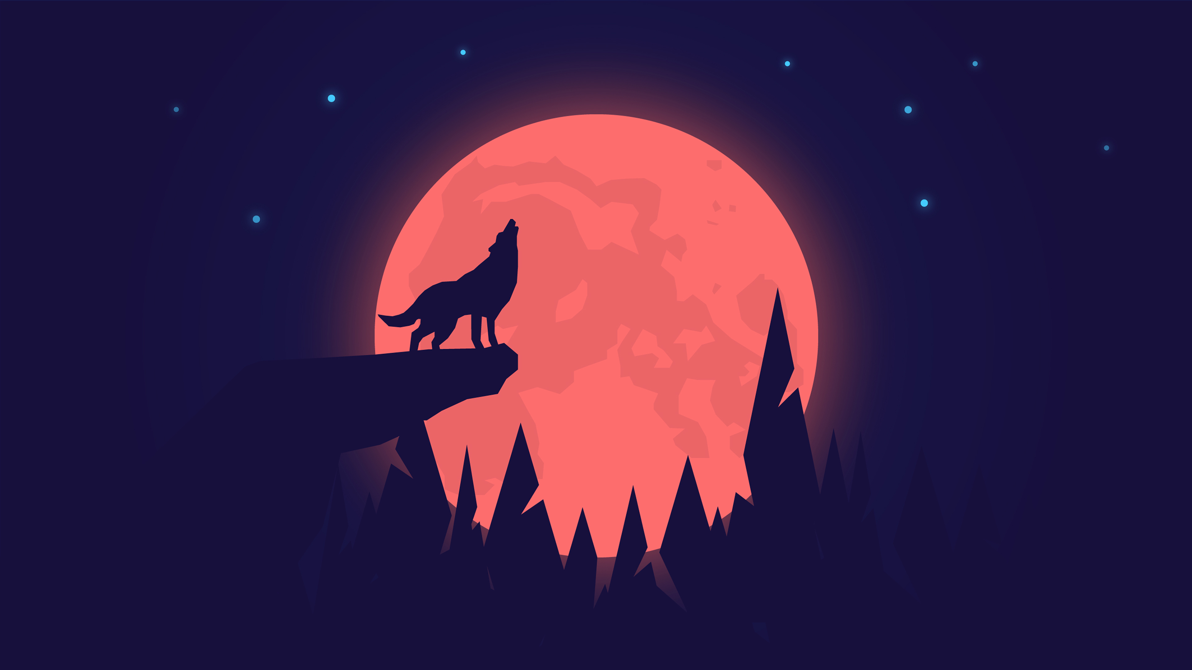 Howling Wolf Night Moon 4k Wallpapers Hd Wallpapers