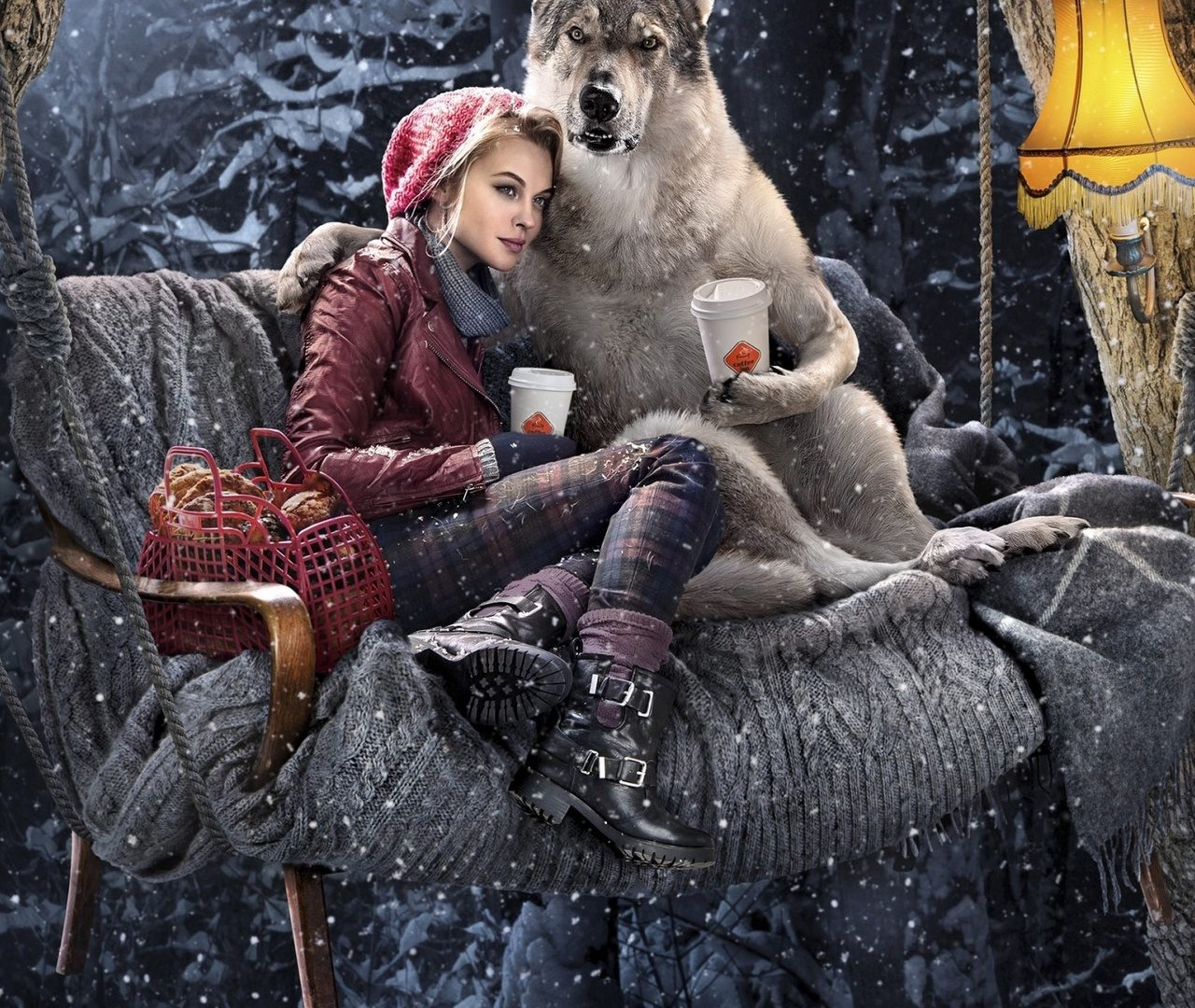 Red Riding Hood, Dog, Girl, Wolf, Forest, Winter