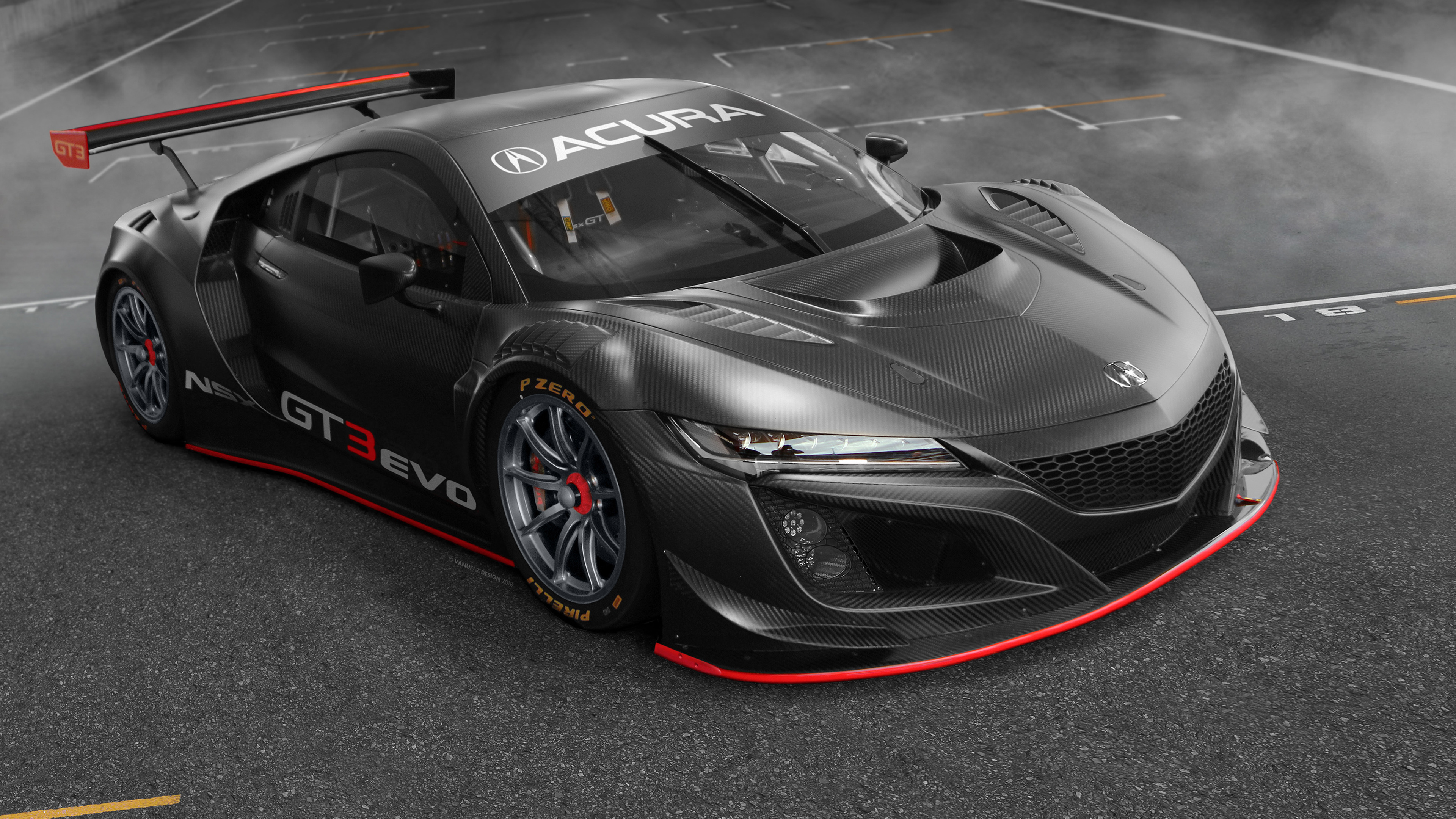 acura nsx gt3 evo 2019 4k wallpapers
